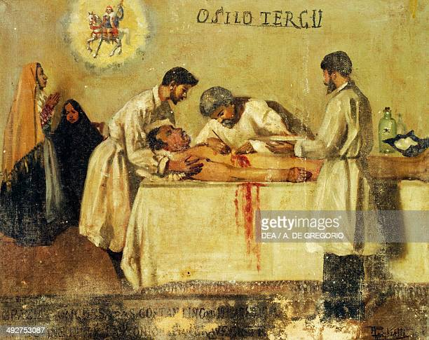 Man on an operating table surrounded by doctors ex voto Italy