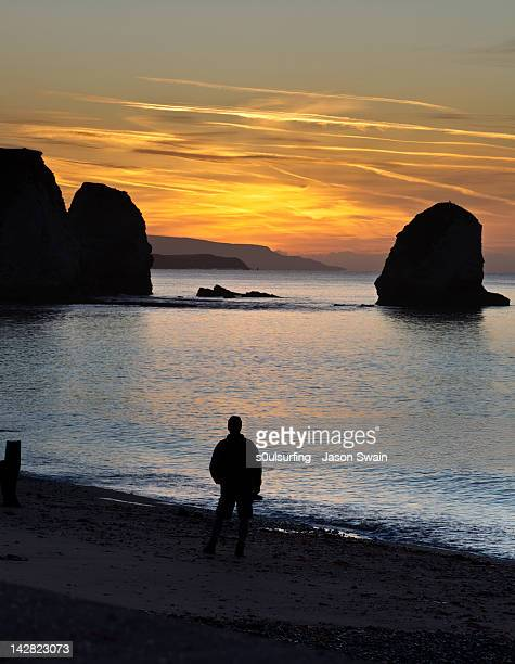 man on beach at sunrise - s0ulsurfing stock pictures, royalty-free photos & images