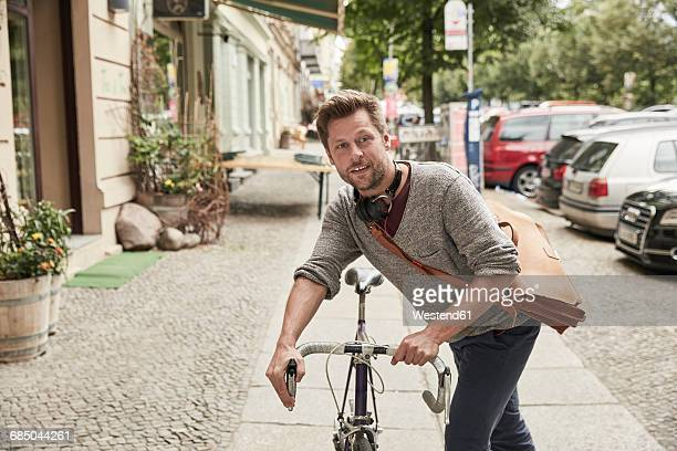 Man on bicycle in the city