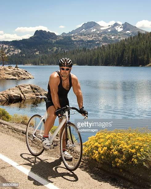 Man on bike at Lake Tahoe, California, United States