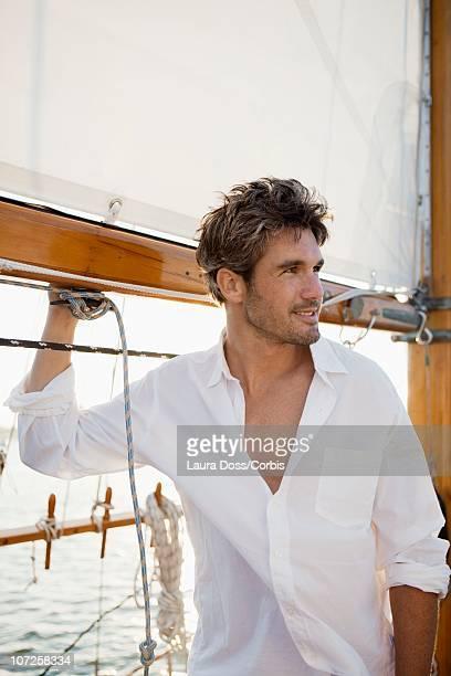 Man on boat trip