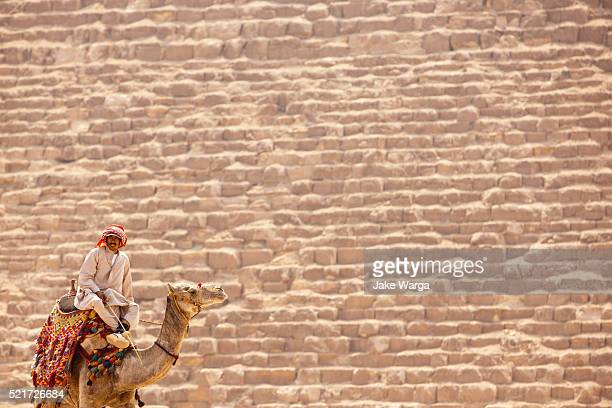 man on camel, giza pyramid, egypt - pyramid shapes around the house stock pictures, royalty-free photos & images