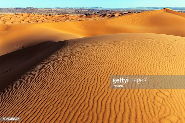 man on erg chebbi sand dune at sunrise, morocco, africa - sahara stock pictures, royalty-free photos & images
