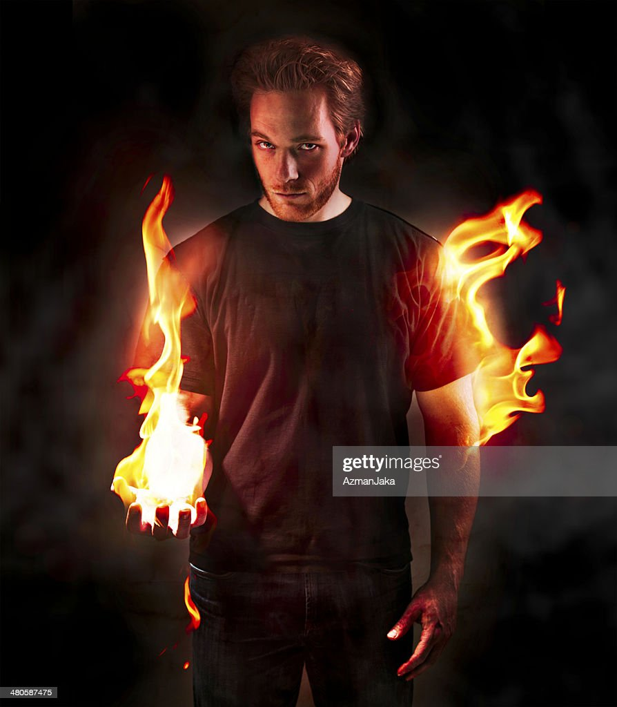 Man on fire : Stock Photo