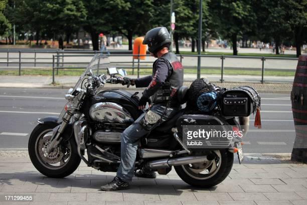 Man on his motorbike in Berlin, Germany