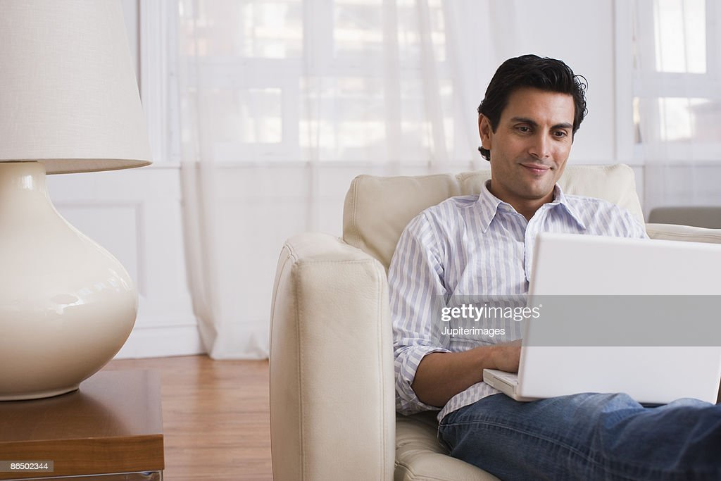 Man on laptop computer : Stock Photo