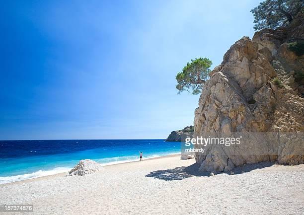Man on lonely beach