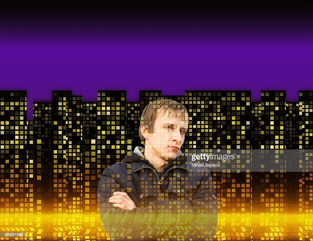 man on many illuminated windows of houses at night backgrounds : Stock Photo