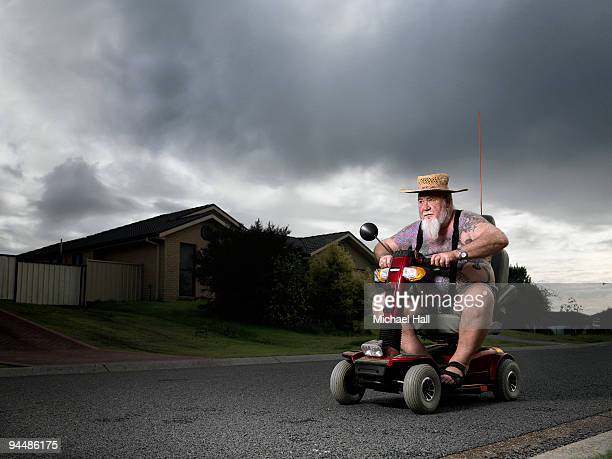 Man on mobility scooter