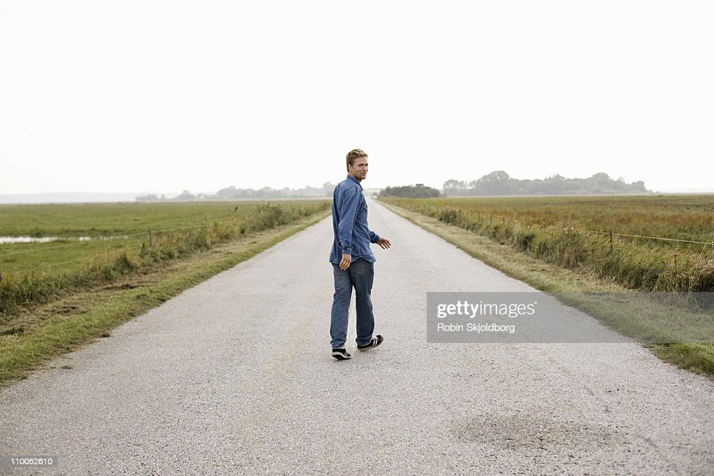 Man on road : Stock Photo