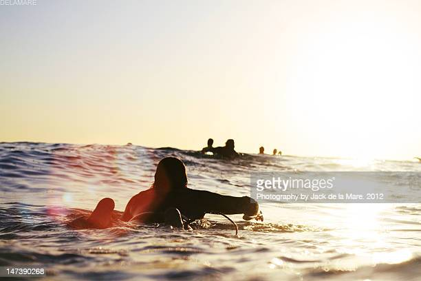 Man on surfer paddle