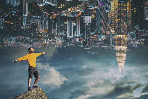 A man on the background of the city. Conceptual image - gettyimageskorea