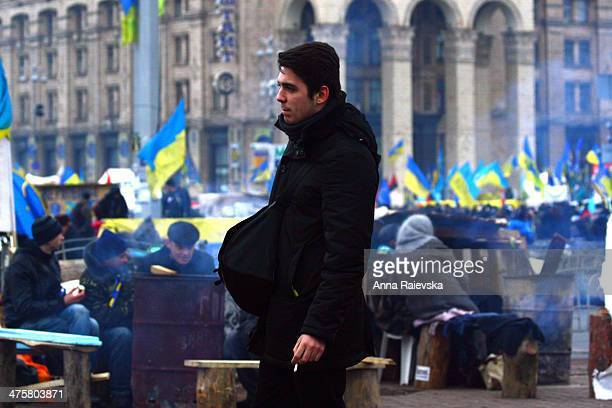 CONTENT] A man on the Independence Square in Kyiv during protests