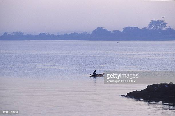 Man on the traditional boat made with papyrus lake Tana in Ethiopia