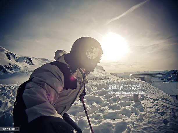 Man on top of snowy mountain, Breuil Cervinia