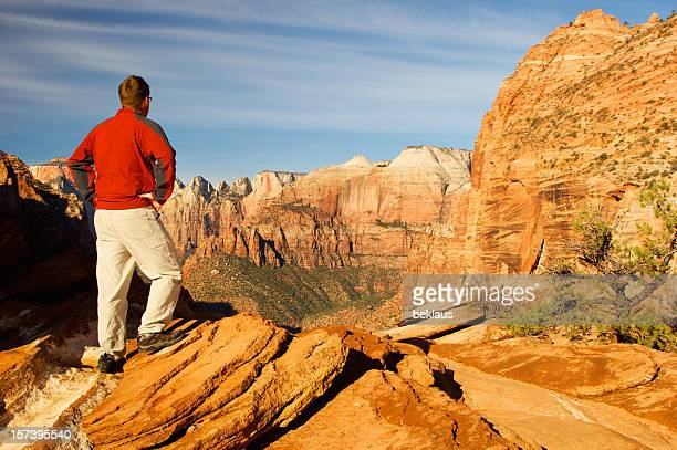 Man on top of Zion National Park