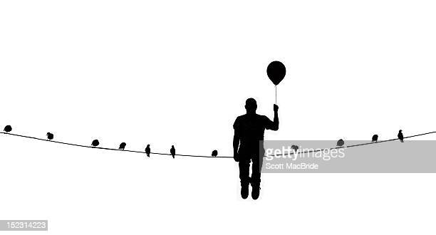man on wire - scott macbride stock pictures, royalty-free photos & images