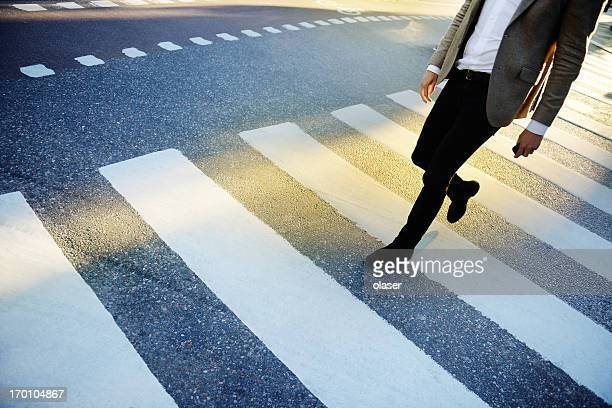 Man on zebra crossing
