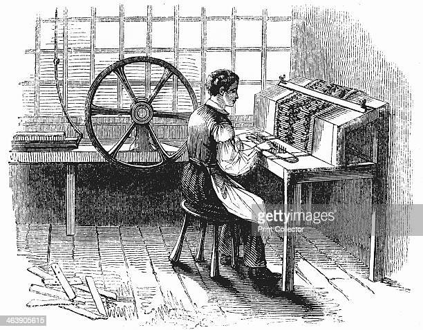 Man operating machine punching cards for Jacquard looms A total of 400800 was normal but sometimes 24000 were worked From George Dodd The Textile...