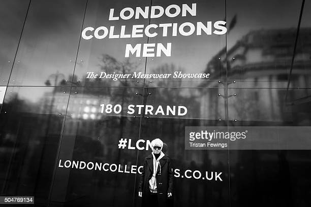 Man outside the E.Tautz show during The London Collections Men AW16 at the BFC Showspace 180 Strand on January 9, 2016 in London, England.