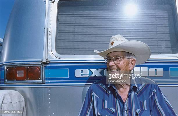 Man outside Trailer Home