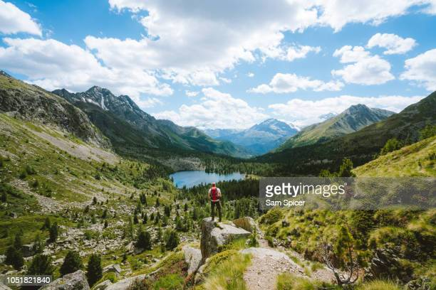 man overlooking stunning alpine landscape, switzerland - switzerland stock pictures, royalty-free photos & images