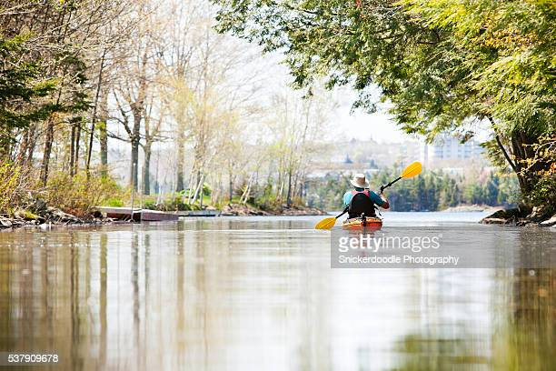 man paddling kayak in tranquil water of an urban lake - snickerdoodle stock pictures, royalty-free photos & images