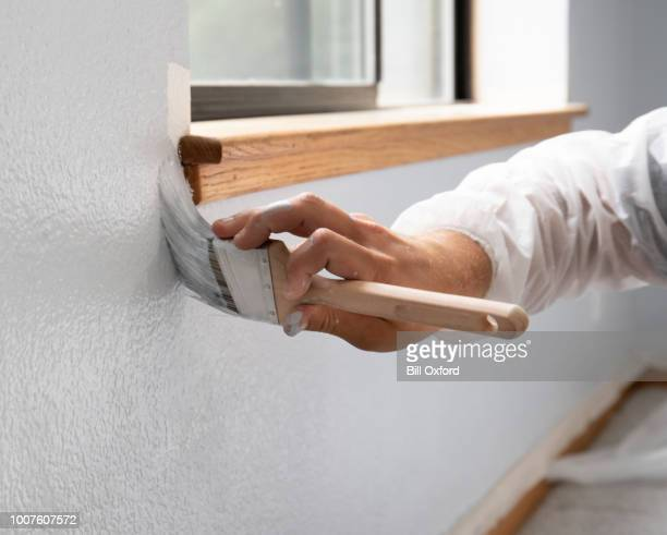 man painting interior of home by window - dipinto foto e immagini stock