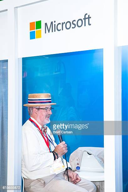 A man participates in a Microsoft Skype display at the Republican National Convention on July 19 2016 at Quicken Loans Arena in Cleveland Ohio