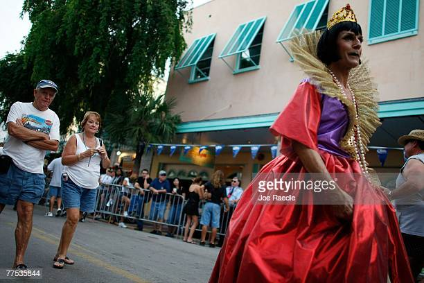 A man participating in the Fantasy Fest Masquerade March wears his custome October 27 2007 in Key West Florida The 10day costuming and masking...