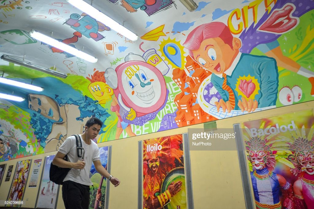 Festive Murals in Makati Pedestrian Underpass : News Photo
