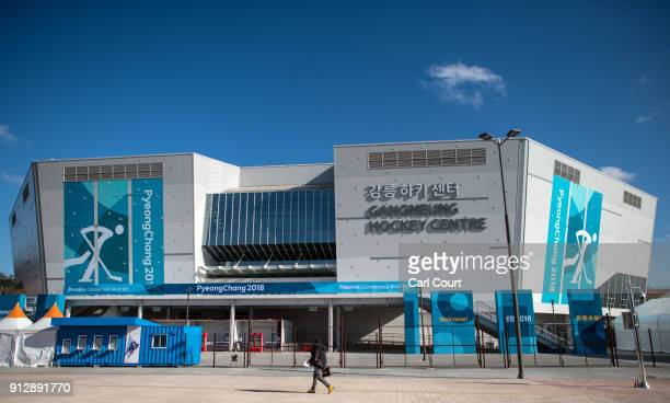 A man passes near the Gangneung Hockey Centre in the Gangneung Coastal Cluster one of the venues for the Pyeongchang 2018 Winter Olympic Games on...