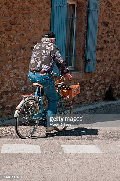 Man passing on a bicycle