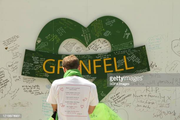 A man paying his respects during the 3rd anniversaryof the Grenfell fire Seventytwo people were killed in the blaze that burnt the 24 story tower in...