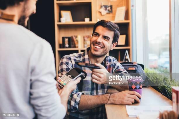 Man paying via smart phone