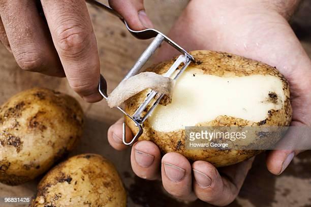 man peeling potato - dunschiller stockfoto's en -beelden