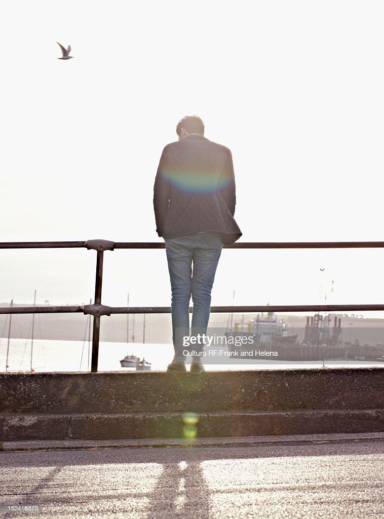 Man peering over railing of harbor : Stock Photo