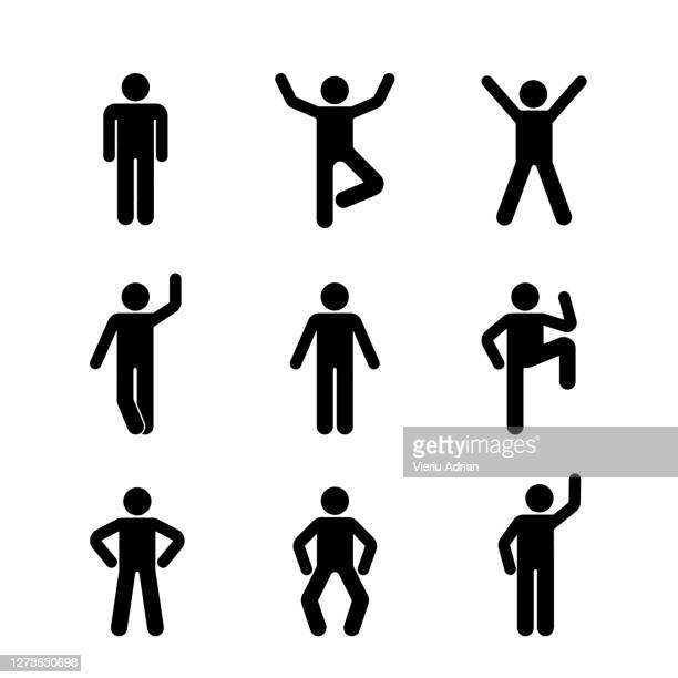 man people various standing position. illustration of posing person icon symbol sign pictogram. - symbol stock pictures, royalty-free photos & images