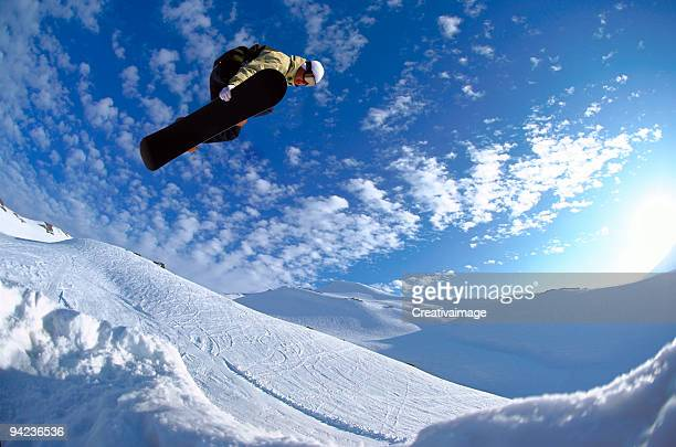 Man performing a snowboard jump