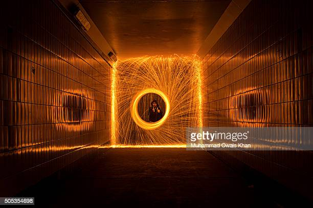 Man Performing Wire Wool At Night