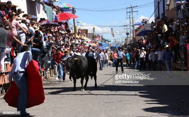 A man performs a pass at a bull during the Festival of Huamantlada in Huamantla Tlaxcala Mexico on August 19 2017 The festival consists of the crowd...
