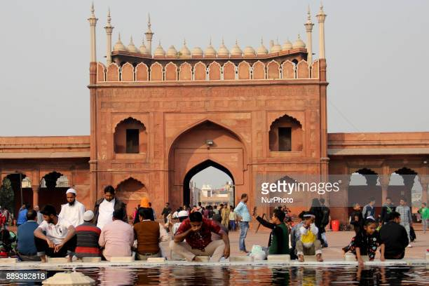 A man performs ablution before offering prayers at Jamia Masjid Old Delhi on 10th December 2017