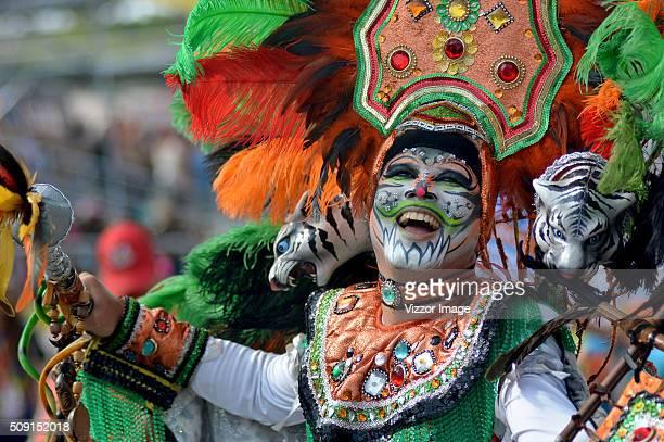 A man performs during La Gran Parada de Fantasía as part of Carnaval de Barranquilla 2016 on February 08 2016 in Barranquilla Colombia