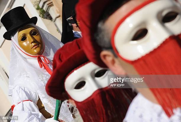 A man personifying the head of the Sartiglia Knights rides during a procession in Oristano west Sardinia on February 22 2009 at the end of the 544th...