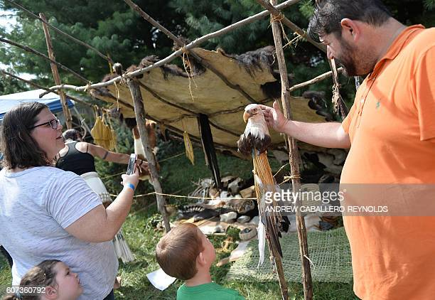 A man pets the head of a Bald Eagle seen on the end of a walking stick at a traditional Native American educational stall during the Bluemont country...
