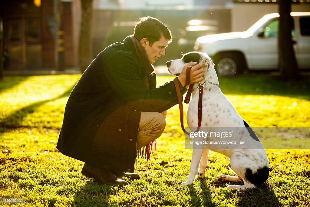 Man petting dog in park : Stock Photo