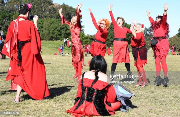 Man photographs a group of fans of Kate Bush on July 14, 2018 in Sydney, Australia. The Most Wuthering Heights Day is when people all around the...