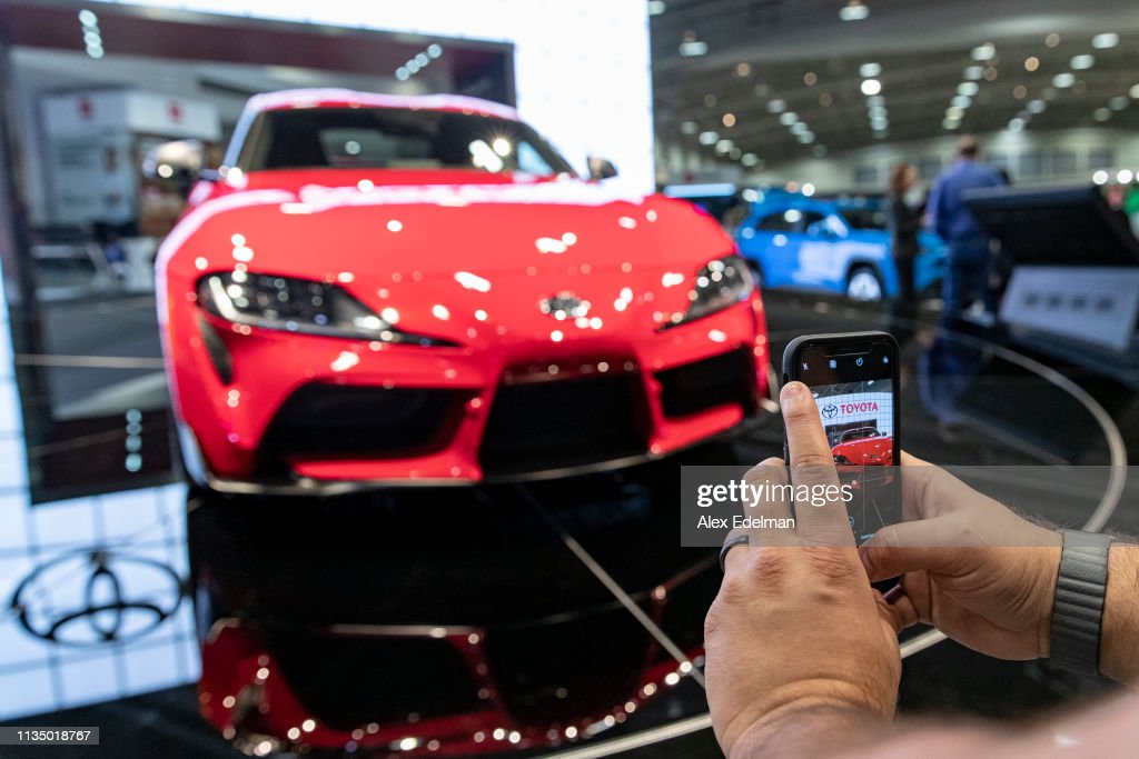 Washington Auto Show 2020.A Man Photographs A Prototype Of The 2020 Toyota Gr Supra On