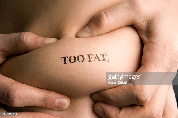 A man pinching part of his abdomen stamped 'Too Fat'