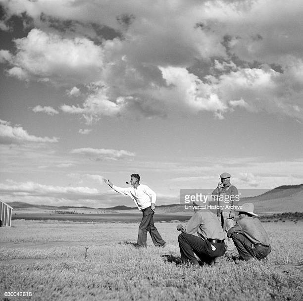 Man Pitching Horseshoes at Resettlement Administration Camp Madras Oregon USA Arthur Rothstein for Farm Security Administration July 1936